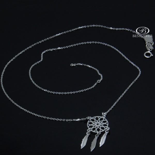 Naszyjnik Srebrny rodowany Łapacz snów Srebro 925