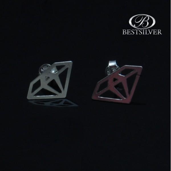 Kolczyki Srebrne na szftyft celebrytka Diament Srebro 925