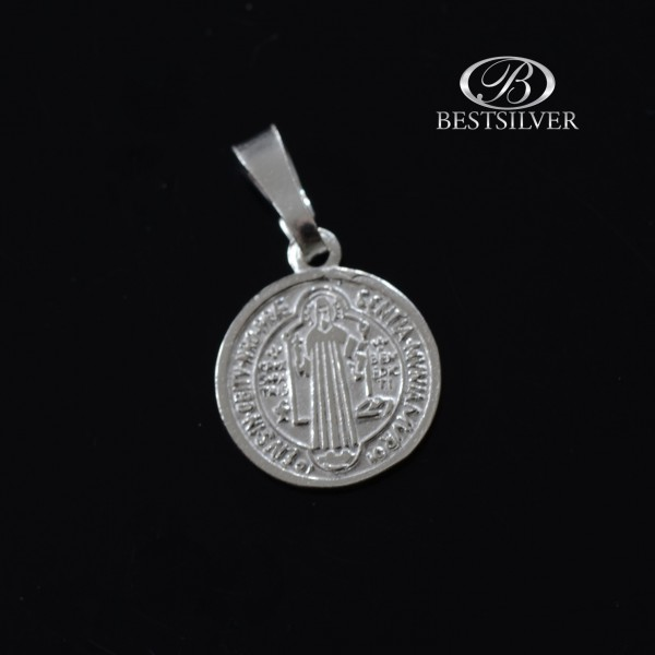 Medalik Srebrne Święty Benedykt okrągły Srebro 925