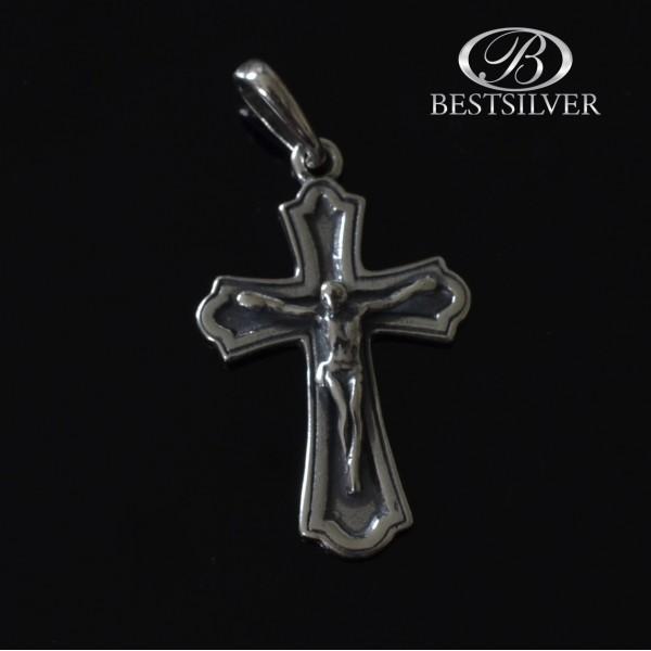 Krzyżyk srebrny z Panem Jezusem oksydowany Srebro kr006