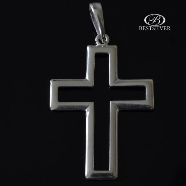 Duży krzyżyk Srebrny obrys krzyża Srebro 925 kr008