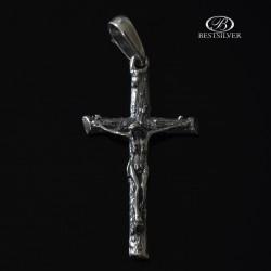 Duży krzyżyk Srebrny z Panem Jezusem kr009