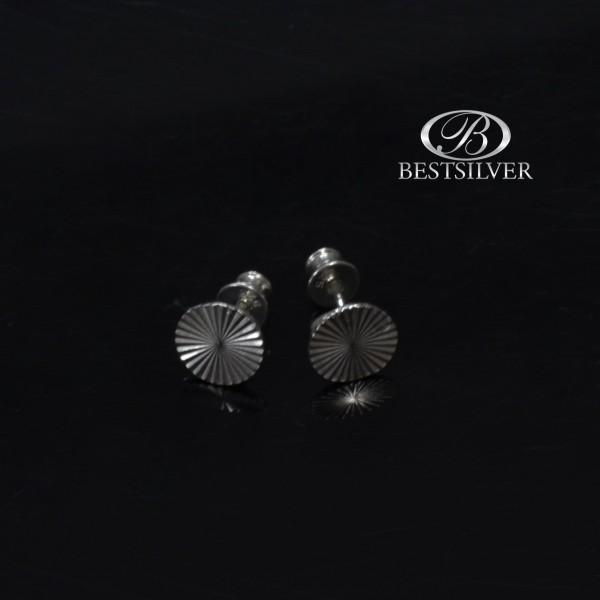 Kolczyki srebrne okrągłe wzór geometryczny Srebro 925