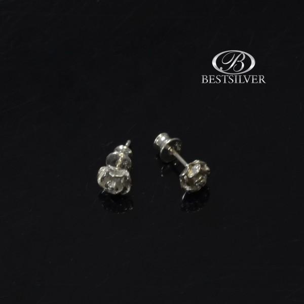 Kolczyki srebrne róże wymiarowe na sztyft Srebro 925