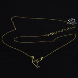 Złoty naszyjnik Celebrytka Ptak Origami Figura Złoto 333