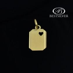 Złota Blaszka z sercem, zawieszka damska, złoto pr.333