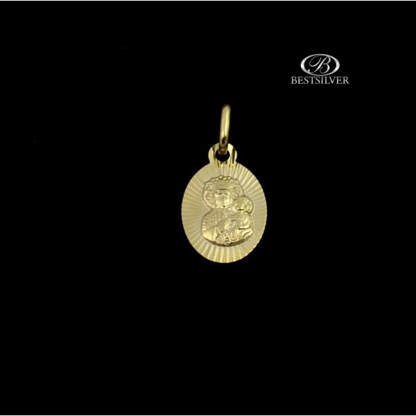 Złoty medalik owalny z Matką Boską Złoto pr.333