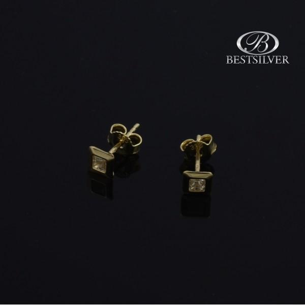 Kolczyki złote z cyrkonią kwadratową na sztyfty 4mm, Złoto 333