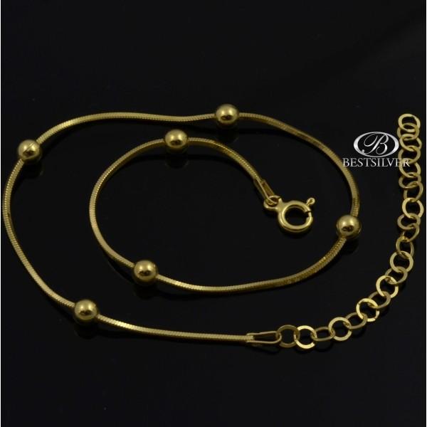 Bransoletka Srebrna złocona żmijka kwadratowa z kulkami 925