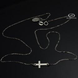 Naszyjnik srebrny z krzyżykiem rodowany celebrytka Srebro 925