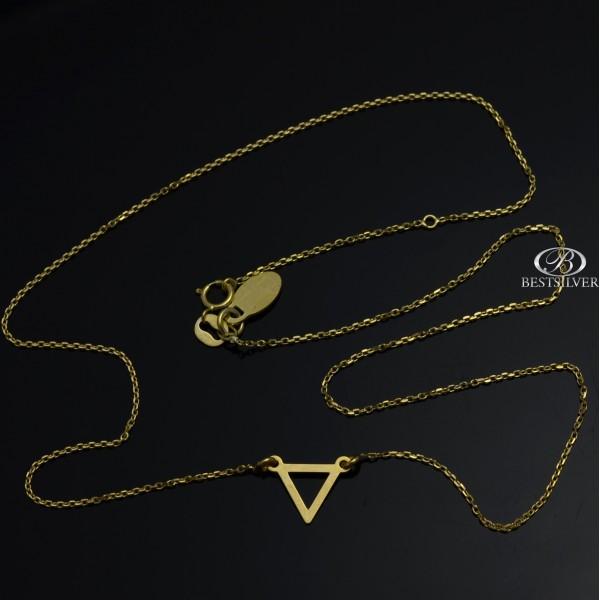 Naszyjnik srebrny złocony z trójkątem celebrytka 42cm 45cm