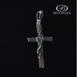 Krzyżyk srebrny męski ciekawy gałąź na krzyżu Srebro 925
