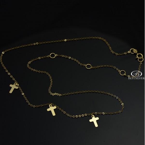 Naszyjnik złoty z krzyżami typu choker Złoto pr.333