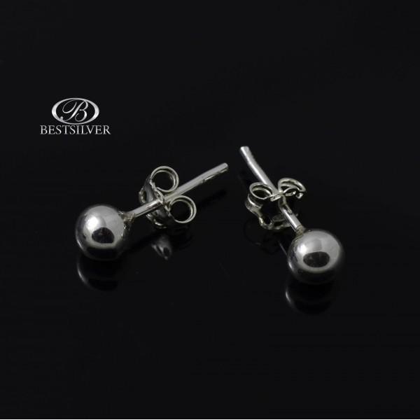 Kolczyki srebrne kulki 5mm wkrętki Srebro 925