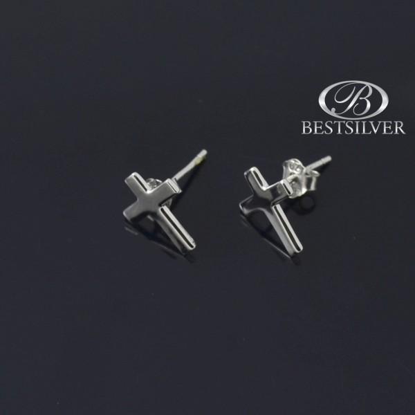 Kolczyki srebrne krzyżyki Srebro rodowane 925