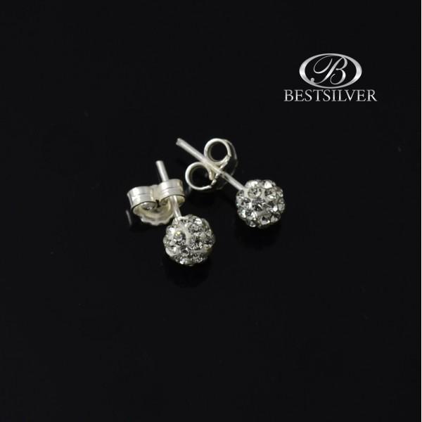 Kolczyki srebrne kulki 6mm discoball crystal - białe