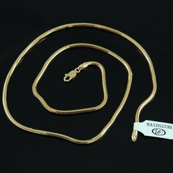 Łańcuszek Srebrny złocony ogon węża 70cm 2,5mm !!
