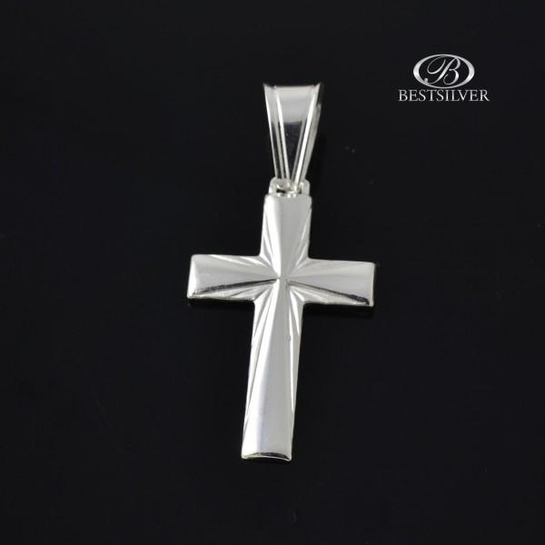 Krzyżyk srebrny męski promienie z dużą krawatką Srebro 925