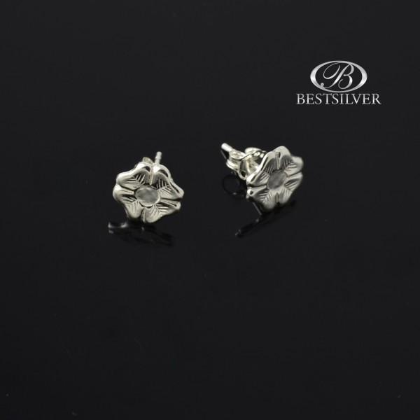Kolczyki srebrne lekkie czterolistne koniczyny Srebro 925