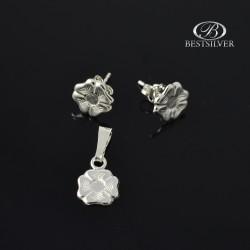 Tani Komplet srebrne biżuterii Koniczyny Kolczyki + zawieszka 925