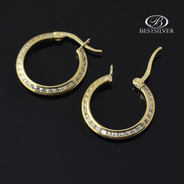 Kolczyki złote koła damskie z cyrkoniami pr.333