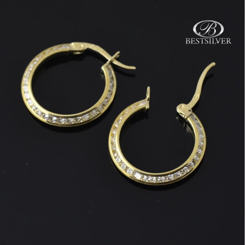 02ec6a78736a39 Kolczyki złote koła damskie z cyrkoniami pr.333 - Biżuteria srebrna ...