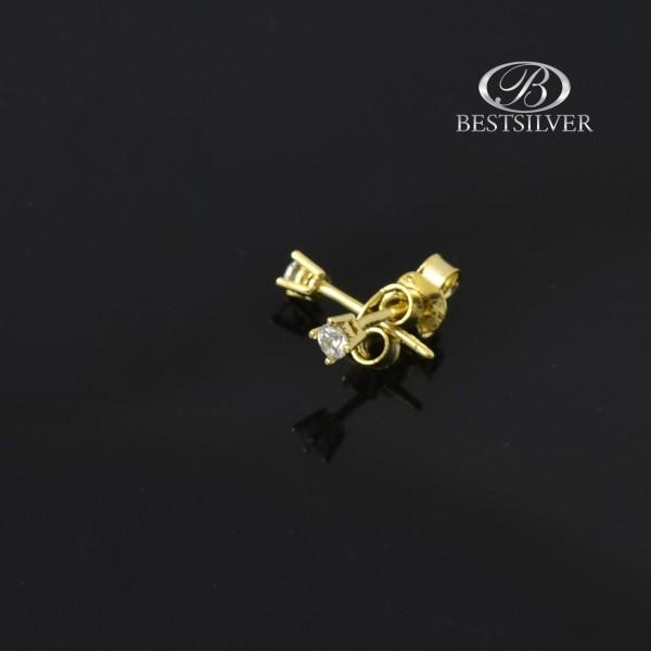 Złote kolczyki na sztyfty z cyrkonią 2mm Złoto 8 kt