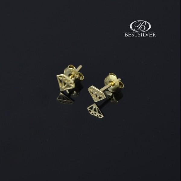 Kolczyki Złote małe diamenty na sztyft próby 333