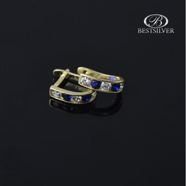 Kolczyki złote z niebieskimi cyrkoniami angielski bigiel złoto 8kt