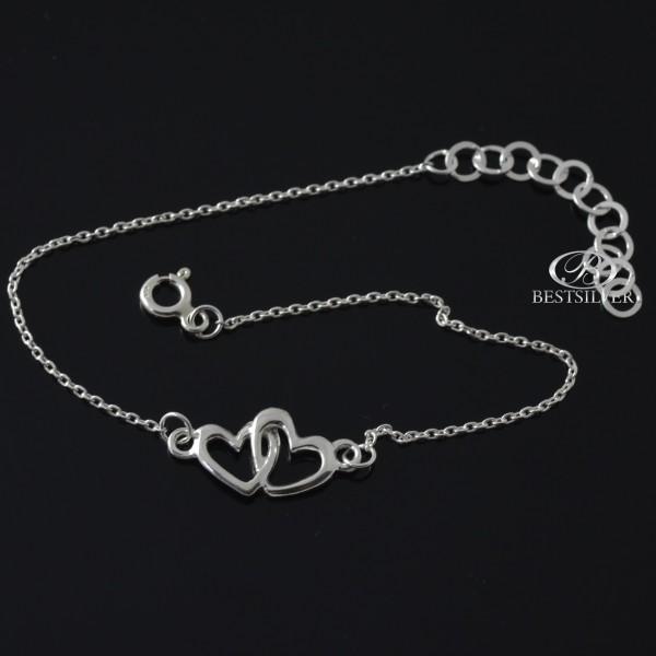 Bransoletka srebrna damska podwójne Serce 925