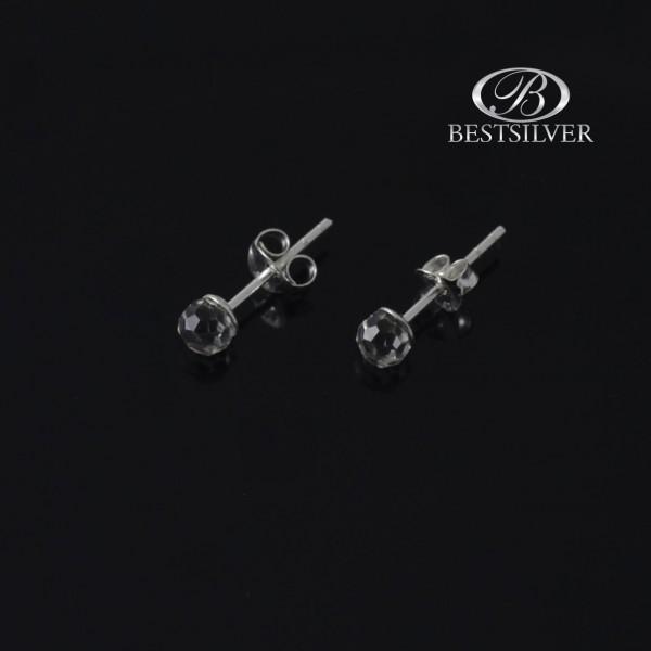 Kolczyki srebrne kryształowe kulki 4mm na sztyft