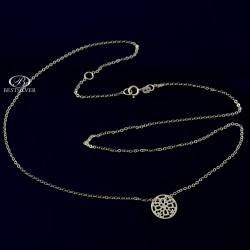 Złoty naszyjnik damski z kółkiem ażurowym złoto 8kt