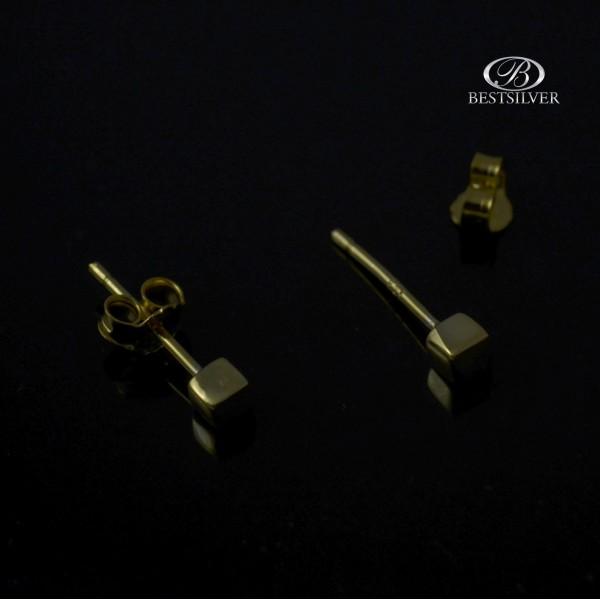 Kolczyki Srebrne złocone subtelne kostki 925