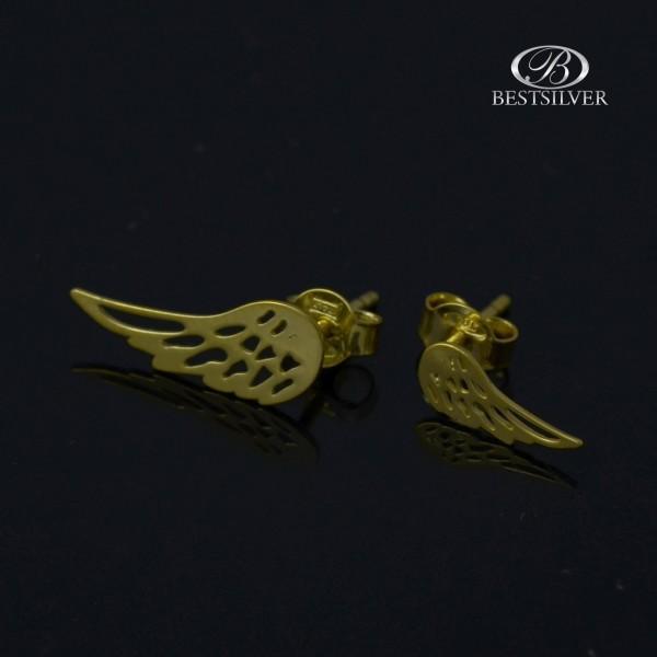 Kolczyki Srebrne złocone skrzydła Anioła Srebro 925