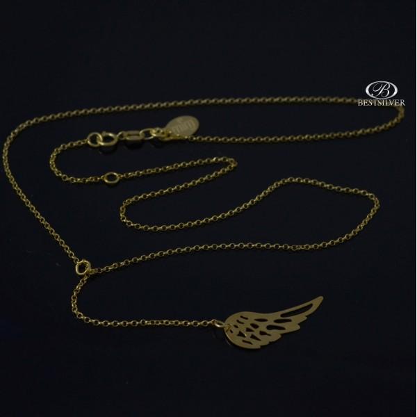 Naszyjnik Srebrny złocony ze skrzydłem Anioła typu Krawat 925