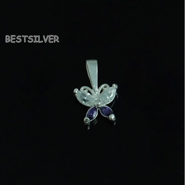 Srebrny Wisiorek Motyl Fioletowy Motylek Do kompletu