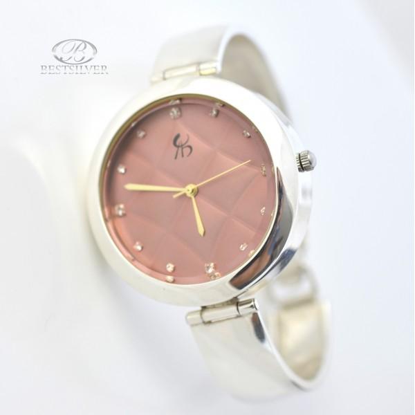 Zegarek Srebrny z okrągłą tarczą miedzianą piękny