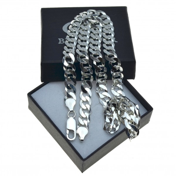 Męski łańcuszek ze srebra Pancerka Szeroka 50cm