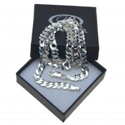 Męski łańcuszek ze srebra Pancerka Szeroka 60cm