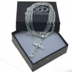 Komplet męski łańcuszek srebrny pancerka + krzyżyk z Jezusem srebrny Srebro 925