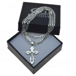 Komplet męski łańcuszek srebrny pancerka + ciekawy krzyżyk srebro 925