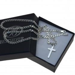 Męski łańcuszek srebrny 60cm + krzyzyk Srebro 925