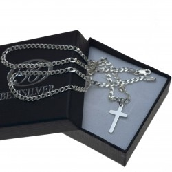 komplet Męski łańcuszek srebrny 55cm + krzyzyk Srebro 925