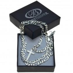 Łańcuszek Męski Figaro Srebrny 50cm + krzyżyk Srebro 925