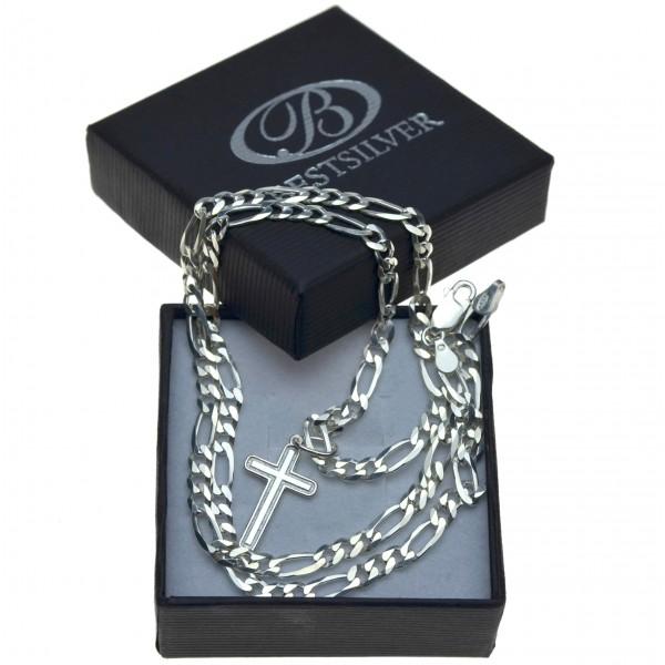 Łańcuszek Męski Figaro Srebrny 60cm + krzyżyk Srebro 925