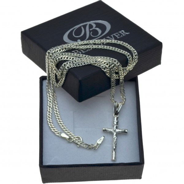 Łańcuszek Srebrny ROMBO 55cm + krzyżyk - komplet męski