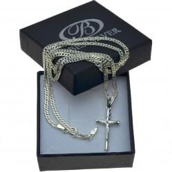 Łańcuszek Srebrny ROMBO 60cm + krzyżyk - komplet męski