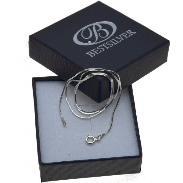 Srebrna Żmijka 60cm osmiokatna 8kąt srebrny łańcuszek