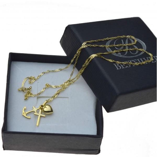 Złoty komplet łańcuszek z wisiorkiem Wiara nadzieja miłość