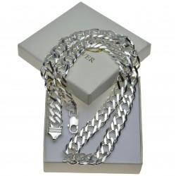 Duży łańcuch srebrny męski Rombo 50cm szer.12mm